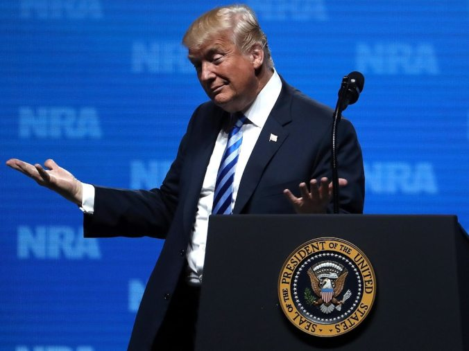 President Donald Trump speaks at the NRA Leadership Forum during the NRA Annual Meeting.